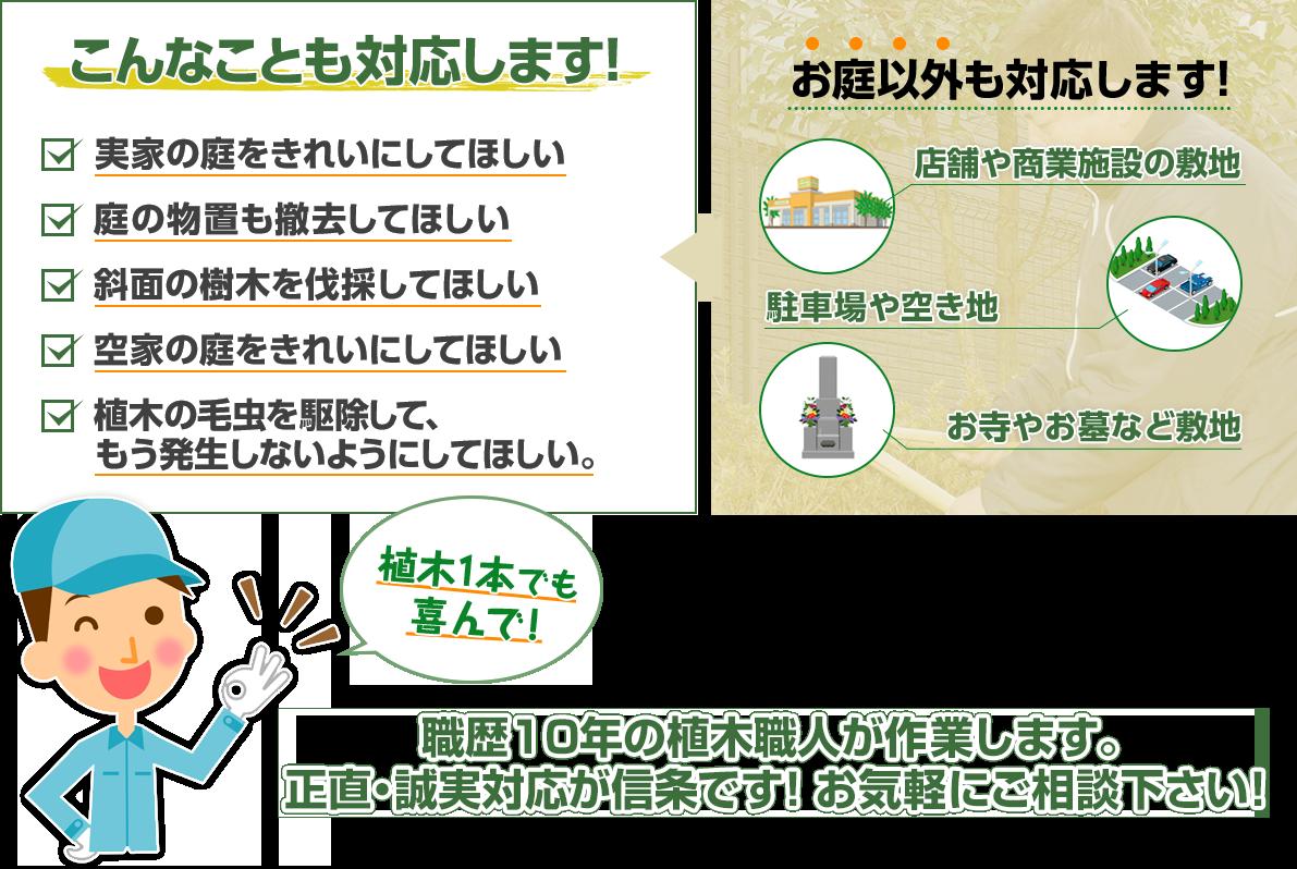 こんなことも対応します!植木1本でも喜んで!職歴10年の植木職人が作業します。正直・誠実対応が信条です!横須賀市、逗子市、鎌倉市、三浦市、横浜市のお客様はお気軽にご相談下さい!